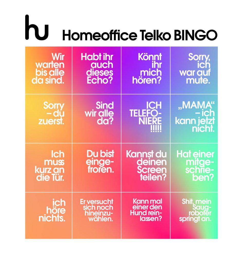Bingo spielen in einer Homeoffice Telko
